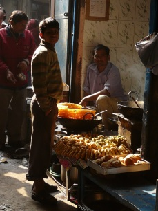 Jalebis, pakoras etc near Excelsior Cinema, Old Delhi