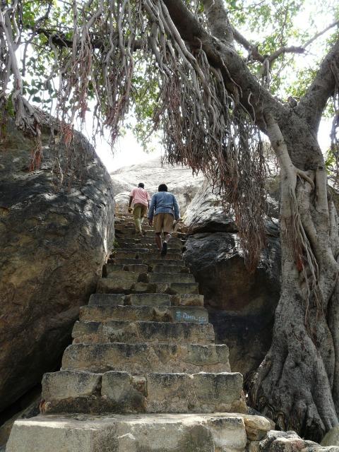Steps up to rock-cut Jain relief Sculptures, Kalugumalai, Tamil Nadu